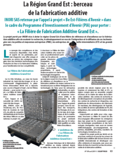« La Région Grand Est : berceau de la fabrication additive » article Equip'Prod n°109 Avril 2019